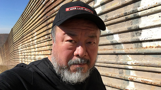 Ai Weiwei in Mexico, along the U.S. border in 2017. Photo courtesy of the Public Art Fund