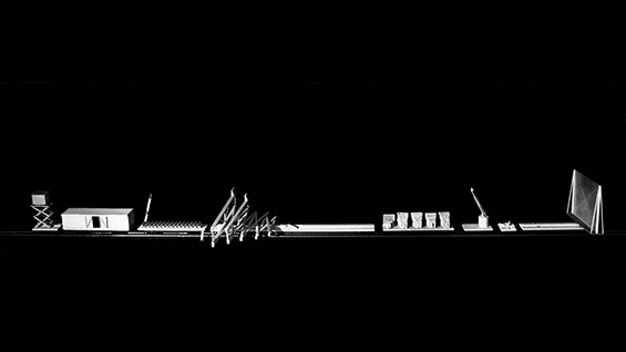 """Laurie Hawkinson, """"Cinetrain,"""" Thesis 1982-83. Faculty John Hedjuk, Anthony Candido, Peter Eisenman, Donald Wall, and Regi Weile."""