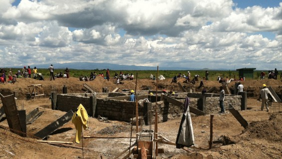 Construction site for the WaterBank School in Laikipia, in the central highlands of Kenya