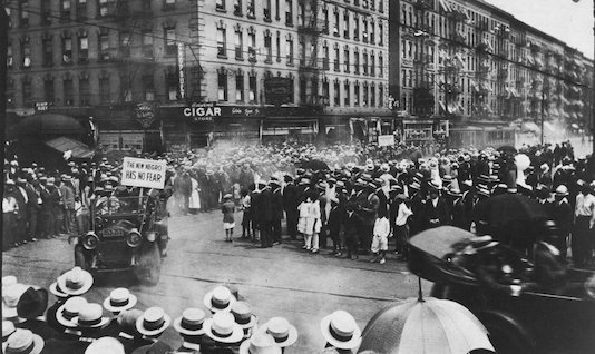 A 1924 parade by the Universal Negro Improvement Association on Lenox Avenue. Credit: Schomburg Center for Research in Black Culture, New York Public Library