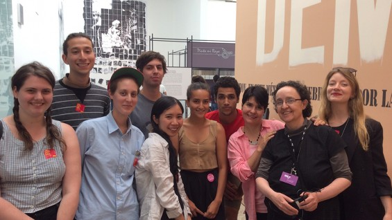 L to r: R. Natanzon, E. Martinez, S.Shemesh, P. Mentasti, M. Bui, V. Leiva, E. Murphy, C. Herrera-Prats and artists Mónica Mayer and Kristen Reger