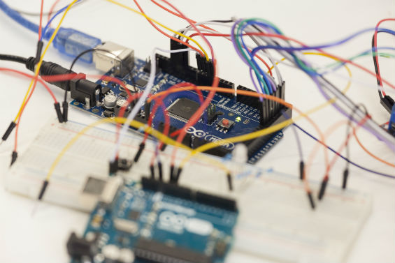 Microcontrollers and breadboards used by Summer STEM students to assemble electronics.