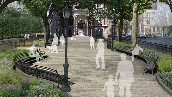 The planned change to Peter Cooper Square. All images courtesy WXY Architecture + Urban Design