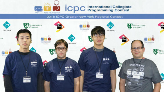 [Left to Right] Team 2 (40th): Zhekai Jin, Daniel Nakhimovich, Do Hyung Kwon with Prof. Sable