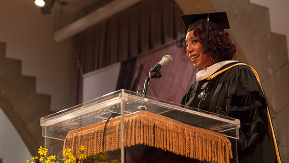 Denise Young Smith delivers the commencement address at The Cooper Union, May 24, 2016. Photo by Joao Enxuto/The Cooper Union