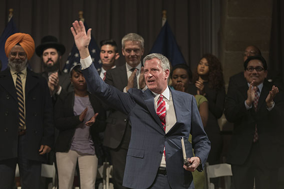 Mayor Bill de Blasio spoke to a capacity crowd in The Great Hall