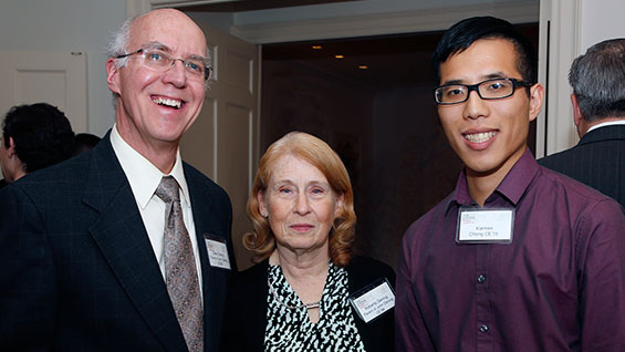 Deke and Roberta Dening with Karmen Chong, a civil engineering senior and recipient of the Deke and Roberta Dening Scholarship