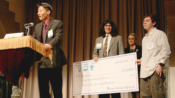 Members of The Cooper Union team accepting their winnings. Images courtesy of 'Dream it. Code it. Win it.'