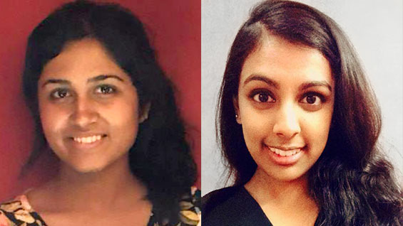 Anushree Sreedhar ChE'18 and Neema Aggarwal EE'15 were mentored by alumni about career options.