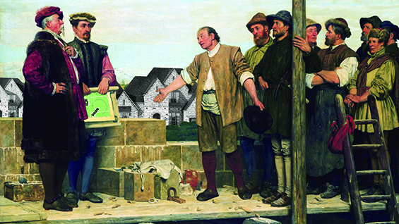 Keith Krumwiede, Don Barthelmismo Meets with Workers at The Palace, Freedomland, after Capital and Labour, 1874, by Henry Stacy Marks