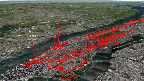 Results of methane survey of parts of Manhattan on 27 November 2012