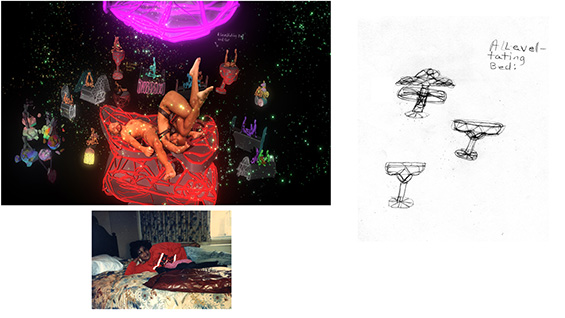 Works from 'Island of Treasure' by Jacolby Satterwhite. Images courtesy of the artist
