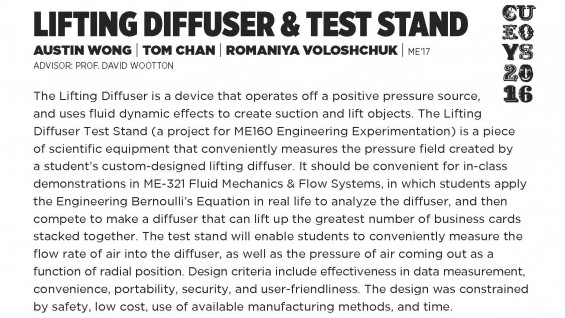 [STUDENT POSTER] LIFTING DIFFUSER & TEST STAND
