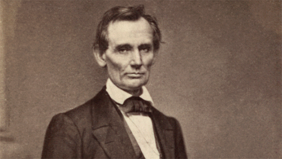 Abraham Lincoln in a photograph taken by Mathew Brady in New York City in 1860