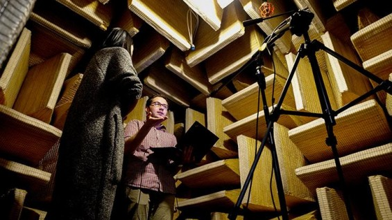 Michael J. Pimpinella (MME) conducts research in the school's anechoic chamber