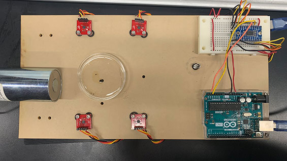 Experimental setup of magnetometer array for the localization of a ferrofluid droplet, from Skylar Eiskowitz's capstone project.