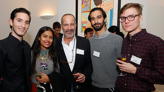 Mark Epstein A'76 (center) with School of Art students Lino Fernandez, Arpana Rayamajhi, Mateo Nava and Stephen Gurtowski