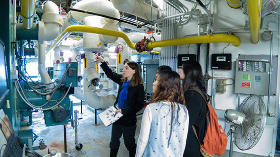 Prof. Baglione explaining the operation of our 41 Cooper Square Hot Water System to Cooper students