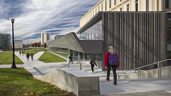 Wilce Student Health Center, OSU, view at entrance