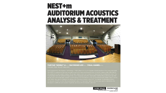 [STUDENT POSTER] NEST+m AUDITORIUM ACOUSTICS ANALYSIS & TREATMENT