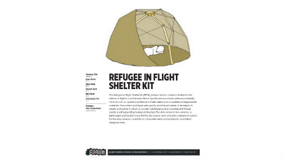 [STUDENT POSTER] REFUGEE IN FLIGHT SHELTER KIT