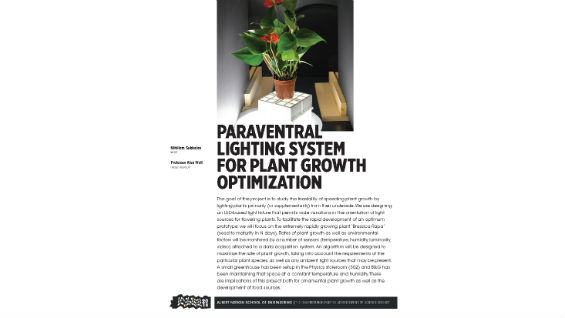 [STUDENT POSTER] PARAVENTRAL LIGHTING SYSTEM FOR PLANT GROWTH OPTIMIZATION