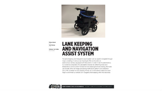 [STUDENT POSTER] LANE KEEPING AND NAVIGATION ASSIST SYSTEM