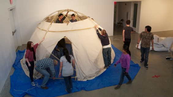 Students construct a RAMESSES shelter in 41 Cooper Square with Prof. Cumberbatch