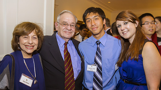 Anne and Paul Heller (ME'53) with Anthony Adal and Amanda Zielkowski, mechanical engineering seniors