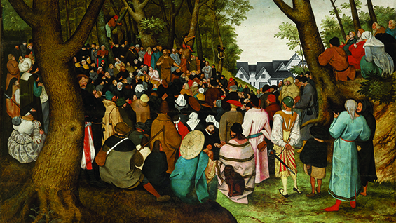 Keith Krumwiede, A Crowd Gathers in Fourier Forest near Freedomland, after The Preaching of St. John the Baptist, 1601–1604, by Pieter Brueghel the Younger