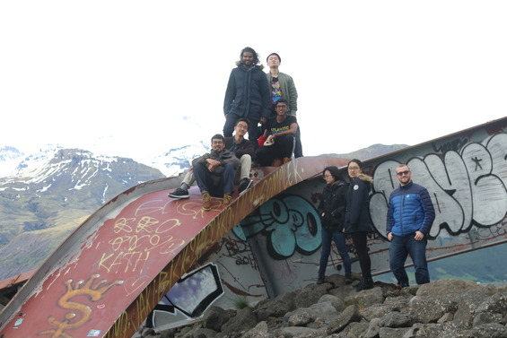 Students near Svinafell, Iceland, on old bridge beams that were destroyed by a glacial flood in 1996