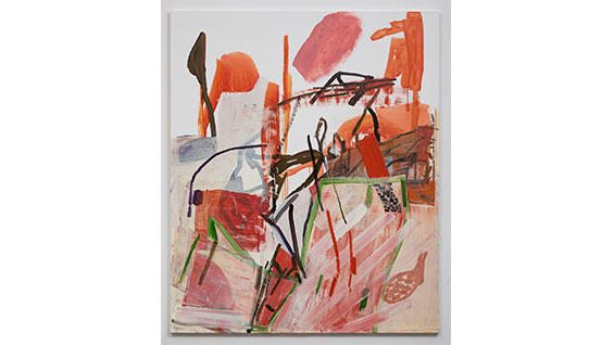 "Amy Sillman, ""Split 2"", 2020, acrylic and oil on linen, 70""x62"". Photo: David Regen"