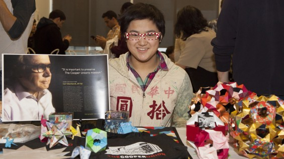 """Uyen (""""Win"""") Nguyen was representing origami club at the celebration"""