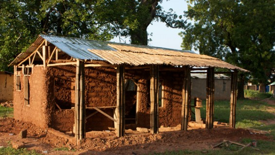 Jirapa, Ghana (2010), Bamboo and Mud House under construction by Cooper students