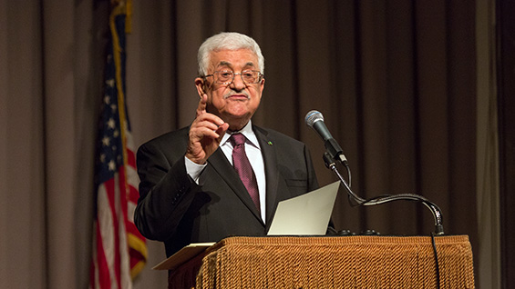 Mahmoud Abbas, president of Palestine, in The Great Hall