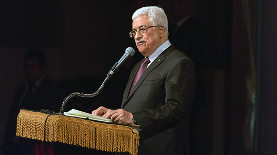 Mahmoud Abbas, president of Palestine, in The Great Hall. Photos by Joao Enxuto/The Cooper Union