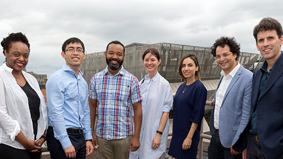 The new assistant professors (l to r): Leslie Hewitt A'00, Neal (Simon) Kwong CE'09, William Villalongo A'99, Lucy Raven, Neveen Shlayan, Raffaele Bedarida and Diego Malquori. Photo by Joao Enxuto/The Cooper Union