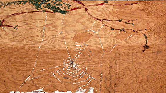 Bill Lynch. untitled (Caught in the Spider Web, detail), n.d. Oil on wood.