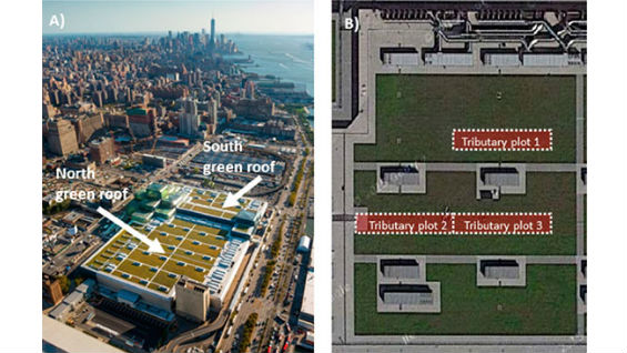 llustrations from 2018 paper by Prof. Cataldo et al. showing an aerial view of the Javits Center roof and the tributary system used for runoff collection on the south green roof.