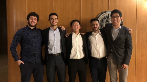 [Left to Right] Aaron Fink (CE'20); former Cooper Chi Epsilon chapter member, Andrew Pena (CE'18); Ian Lee (CE'19); Mohammed Hossain (CE'19); Jeahoung David Hong (CE'20)