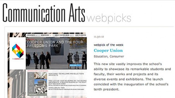 Communication Arts webpick featuring Cooper Union's new website