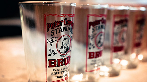 Pint glasses featured a design by Emily Adamo A'17 and Stephanie Restrepo AR'17