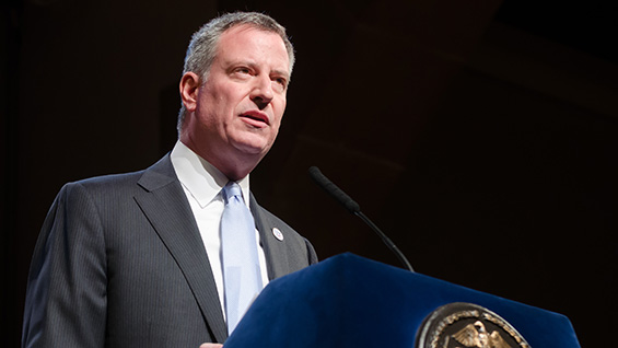Bill de Blasio, mayor of New York City, in the Great Hall<br><br>