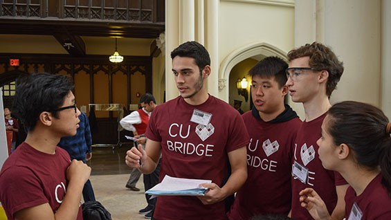 Build Captain Nina Berlow CE'16 (far right) led the construction group, which included Lawrence Chen CE'17, Andrew Peña CE'18, Phang CE'19 (alternate), Miles Barber CE'18.