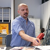 Eric Hibit teaching a mixed media collage for beginners class