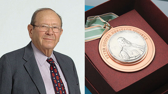 Isaac Heller and the Peter Cooper Heritage Society Medal. Photo of Isaac Heller courtesy Heller Industrial Parks, Inc.