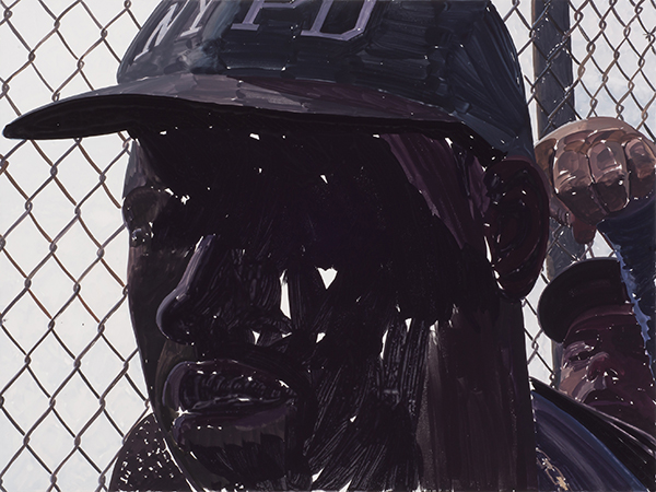 NYPD and Fence, Gouache on paper, 30 X 40 inches, 2019