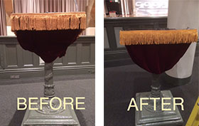 before and after shots of lectern skirt