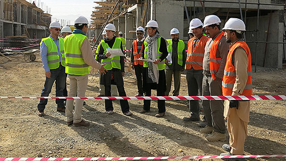 Koukaba Mojadidi (in scarf) at the Police Staff College job site in Kabul, Afghanistan.  (All images courtesy Koukaba Mojadidi)