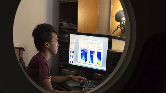 Joe Fung at work on his Summer Undergraduate Research Fellowship. Photo by Joao Enxuto/The Cooper Union